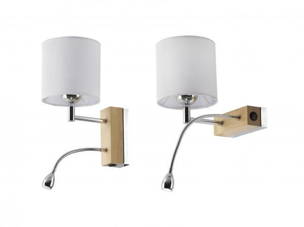 Mea 1-es fali lámpa króm+világos tölgy